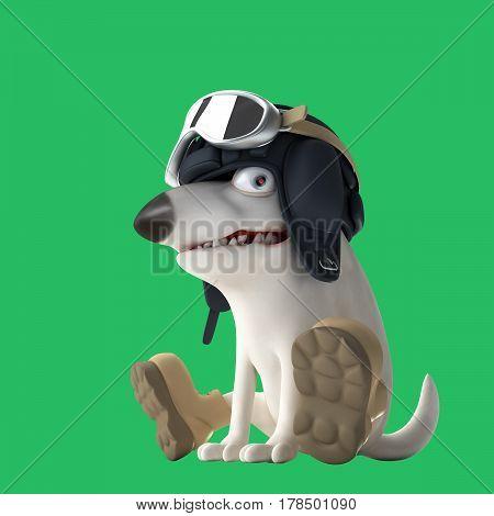 Dog tanker 3d illustration. Funny bull terrier on green background. Cartoon character.
