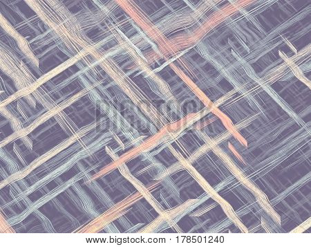 Fractal background or texture with chaos interwoven threads like mat or fabric. Abstract computer-generated image