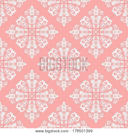 Damask vector classic pink and white pattern. Seamless abstract background with repeating elements. Orient background