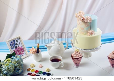Spring Morning Still Life Cake In Pastel Colours With Flowers