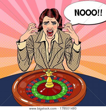 Screaming Woman Behind Roulette Table. Casino Gambling. Pop Art Vector retro illustration