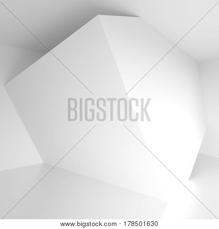 White Empty Room. Modern Architecture Background. 3d Rendering. Creative Web Wallpaper