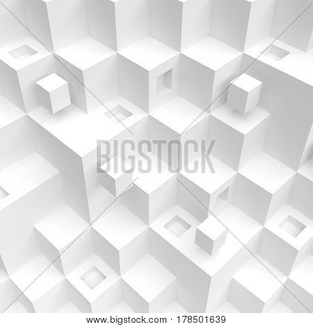 3d Rendering of White Cube Background. Modern Architecture Design. Creative Web Wallpaper