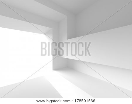White Empty Room. Abstract Industrial Background. 3d Rendering. Creative Web Wallpaper