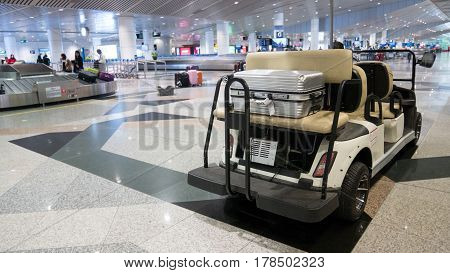 Cart Or Car Golf In International Airport For Service And Police Security Monitor Around The Airport
