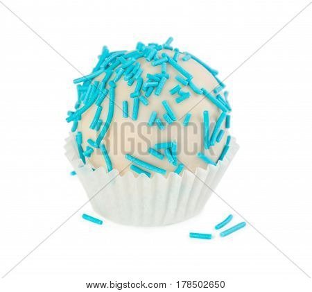 Cake Ball In White Glaze With Blue Sprinkles