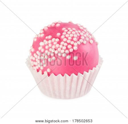 Cake Ball In Pink Glaze With Sprinkles