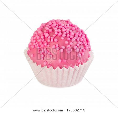 Cake Ball In Pink Glaze With Pink Sprinkles