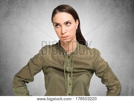 Furious woman studio portrait