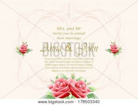 Wedding card Invitation card with rose flower on ivory background