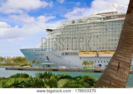 Nassau, Bahamas - April 13, 2015: Royal Caribbean cruise ship Allure of the Seas  docked at port of Nassau, Bahamas. It's the largest passenger ship ever built