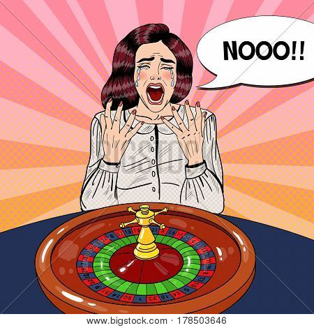 Crying Woman Behind Roulette Table. Casino Gambling. Pop Art Vector retro illustration