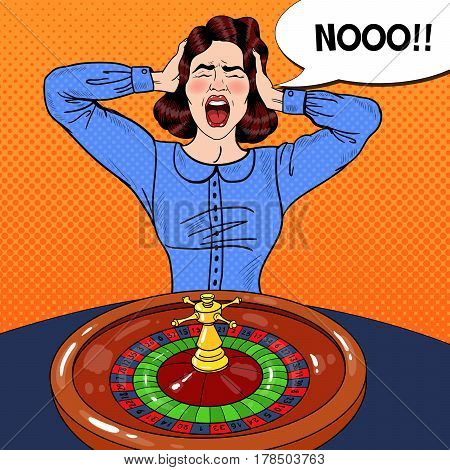 Stressed Screaming Woman Behind Roulette Table. Casino Gambling. Pop Art Vector retro illustration