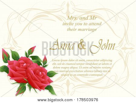 Invitation card wedding card with rose floral ivory background