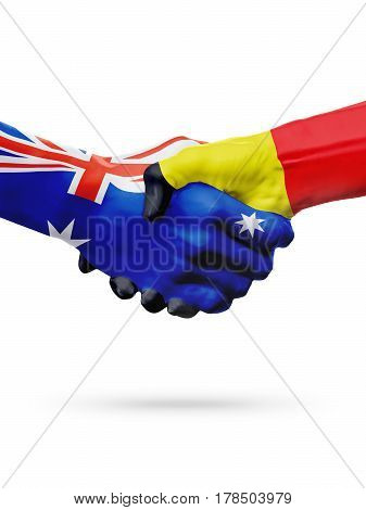 Flags Australia Belgium countries handshake cooperation partnership friendship or sports national team competition concept isolated white