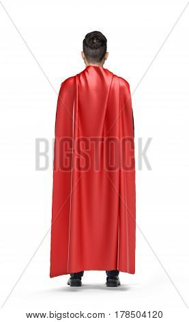 A businessman in shimmering scarlet cape turned back on white background. New business. Finding help. Lost opportunities.