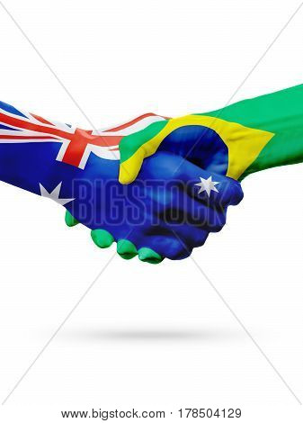 Flags Australia Brazil countries handshake cooperation partnership friendship or sports national team competition concept isolated white