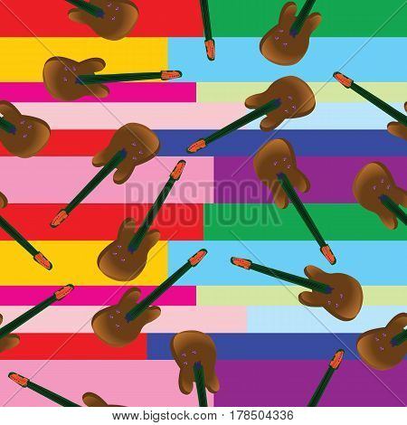 Seamless guitar pattern with colored stripes background