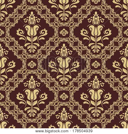 Damask vector classic pattern. Seamless abstract background with golden elements. Orient background