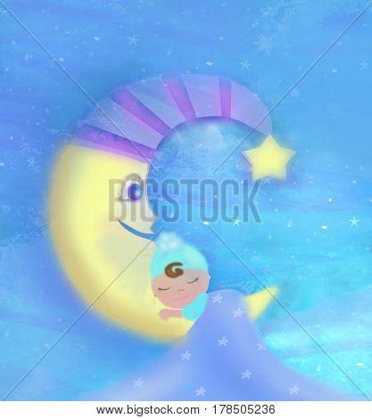 Cute little babe sleeping on moon , raster