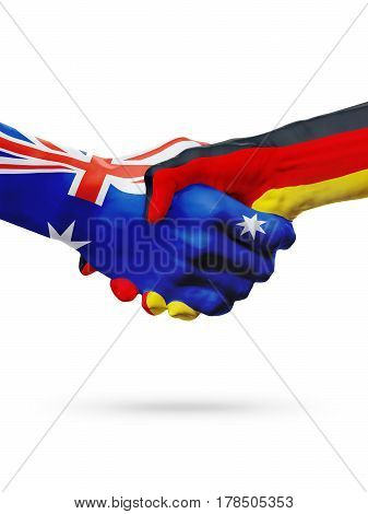 Flags Australia Germany countries handshake cooperation partnership friendship or sports national team competition concept isolated white