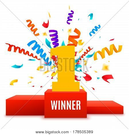 1st place design. Winners pedestal isolated on white background. Red podium with gold number one and confetti explossion. The award for first place. Vector illustration.
