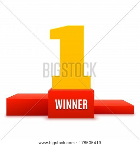 1st place design. Winners pedestal isolated on white background. Red podium with gold number one. The award for first place. Vector illustration.
