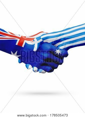 Flags Australia Greece countries handshake cooperation partnership friendship or sports national team competition concept isolated white