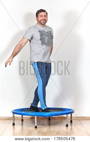Trampolin Jumping At Home Caucasian Male