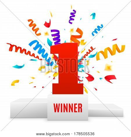 1st place design. Winners pedestal isolated on white background. White podium with red number one and confetti explossion. The award for first place. Vector illustration.