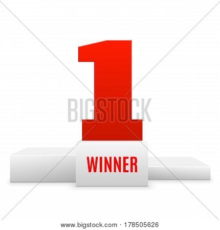 1st place design. Winners pedestal isolated on white background. White podium with red number one. The award for first place. Vector illustration.