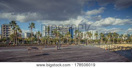 Limassol, Cyprus - DECEMBER 2016: Promenade along the coastline