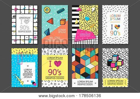 Memphis cards with geometric elements. Set of vector banners in trendy 80s - 90s memphis style.