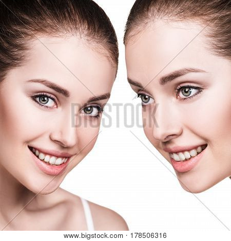 Woman's beauty faces with healthy skin. Spa treatment concept