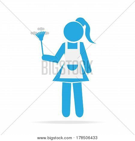 Cleaning icon Maid with dust brush illustration