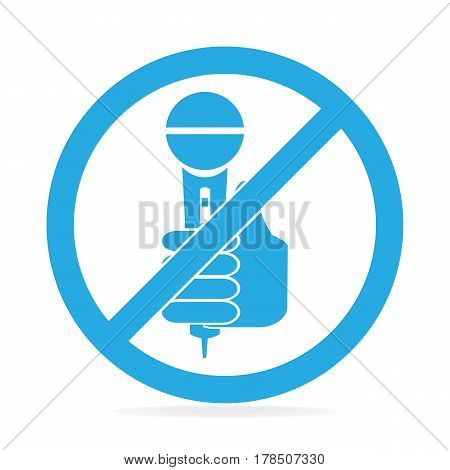 Hand holding microphone icon No interview answering question concept