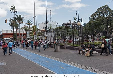 SAN JOSE, COSTA RICA MARCH 04, 2017: People in the pedestrian zone in the center of San Jose Costa Rica