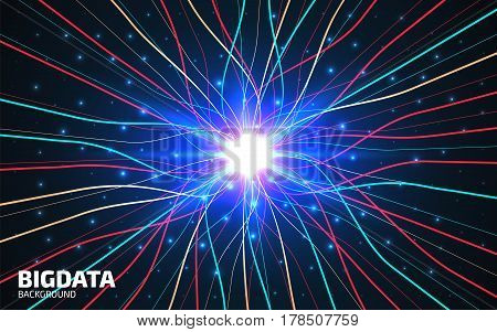 Abstract communication network background. Fractal element with lines and dots array. Big data connection complex concept. Futuristic digital neural network visualisation. Vector illustration