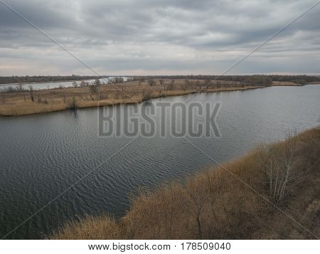 Drone shot of Don river near Rostov-on-Don on a spring morning. Aerial view.