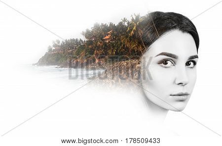 Double exposure of beautiful young woman and beach over white background