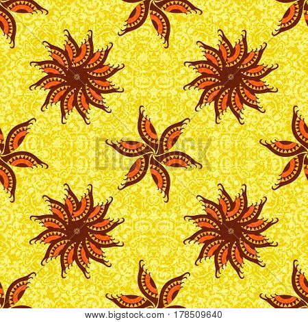 Abstract Seamless Background, Tile Ornament with Symbolical Colorful Floral Patterns. Eps10, Contains Transparencies. Vector