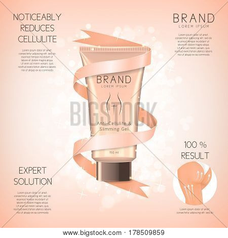 Design of banner with anti-cellulite cream in tube. Advertising of means for care of body skin for women. Concept of cosmetic cream. Vector illustration.