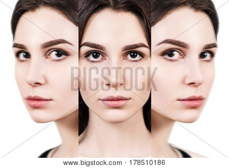 Collage of young beautiful woman's faces over white background. Beauty concept.