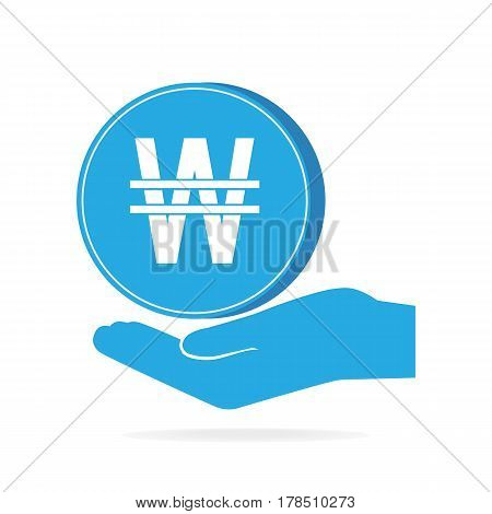 Coin in hand icon. KRW currency sign. Protection safety concept