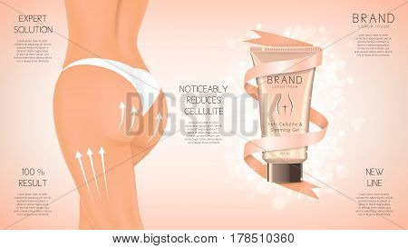 Design of web banner with anti-cellulite cream in tube. Advertising of means for care of body skin for women. Concept of cosmetic cream. Vector illustration.