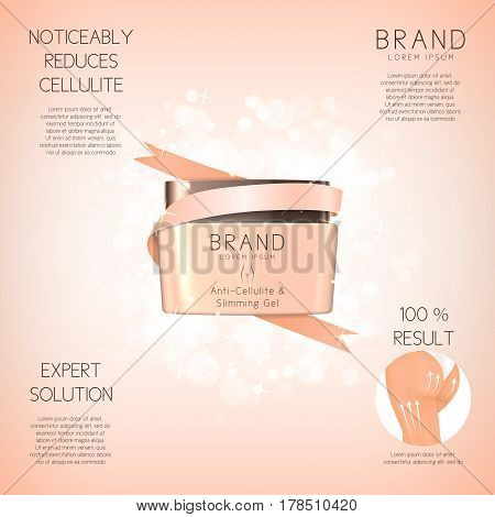 Design of background with anti-cellulite cream in jar. Concept of cosmetic cream. Vector illustration. Advertising of means for care of body skin for women.