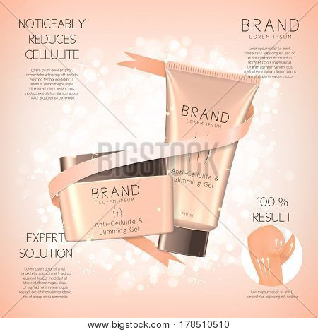 Design of banner with anti-cellulite cream in jar and tube. Concept of cosmetic cream. Vector illustration. Advertising of means for care of body skin for women.