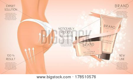 Design of web banner with anti-cellulite cream in jar and tube. Concept of cosmetic cream. Vector illustration. Advertising of means for care of body skin for women.