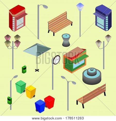 Urban city street isometric vector objects benches streetlight booth newsstand Kiosk clock recycle bins fountain. Vector Illustration