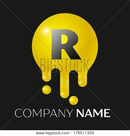 R Letter splash logo. Yellow dots and bubbles letter design on black background. Vector Illustration